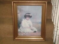"""PRINT/PICTURE OF PRETTY VICTORIAN GIRL IN GOLD FRAME AND GLASS 20 """"X 16"""""""