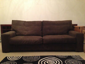 John Lewis 3/4 Seater Sofa in Chocolate Brown Suede Leather