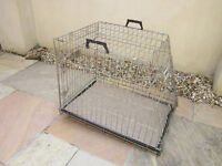 Large Savic dog cage, steel construction, folds away in seconds. Fits in car boot