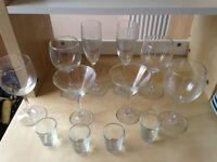 Glasses Glassware Wine x 4, Champagne x 2, Cocktail x 2, Shot x 4, Short Tumbler x 4, Vase x 1