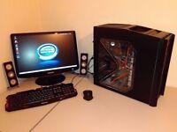 """CUSTOM GAMING BUNDLE - QUAD CORE - 22"""" FULL HD MONITOR - GEFORCE GT - 12GB RAM - 600W PSU - GAMES"""