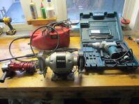 Job lot Of Power Tools - SDS Chisel Hammer Drill Pressure Washer Bench Grinder & Angle Grinder