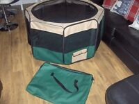 PUPPY SMALL DOG PLAYPEN ENCLOSURE FABRIC MESH SIDES& LID VGC WITH STORAGE BAG