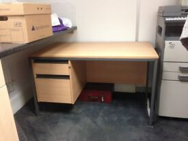 Beech veneer desk on metal frame with 2 drawers and privacy board
