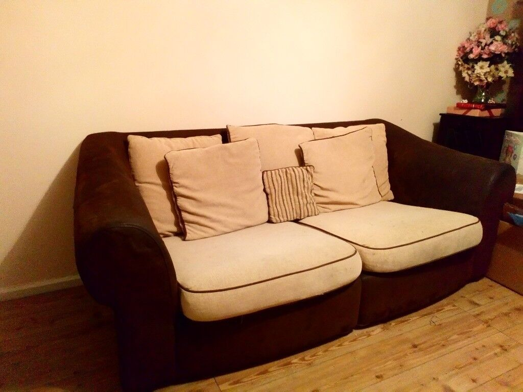 3 piece suite, sofa, couch, armchairs. Cream and brown. ONO