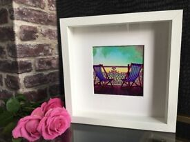 Framed Art Picture Print - Brighton Pier Beach Deckchair Sea Bathroom Shabby Chic