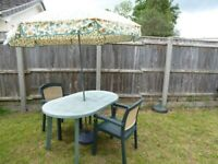 Garden table, two chairs