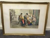 Antique watercolour painting signed BAIN