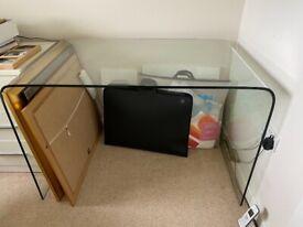 Solid glass desk