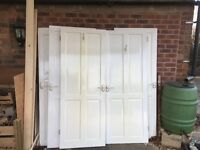 5 internal pine doors with handles & latches for sale.
