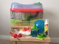 Hamster Cage - 2 storey. Plus accessories including ball and feeding bowl.