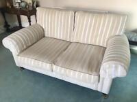 Laura Ashley Cream Striped 2 Seater Sofa Good Condition