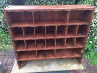 VINTAGE WOODEN PIGEONHOLES (Old Post Office Sorting Rack) 1930.