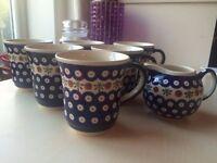 Original and unique Polish Pottery – 6 Mugs + Milk Jug - Handmade - Boleslawiec