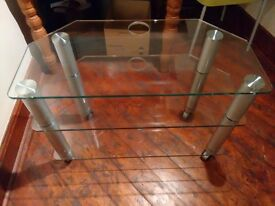 3 Tier Glass TV Stand with Wheels