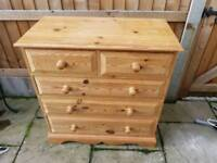 Vintage solid pine chest of 5 drawers with dovetailed joints