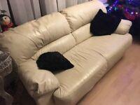 Ivory leather deep cushioned sofa