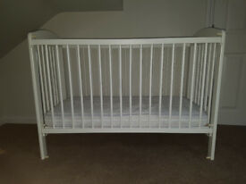 White cot in great condition with new John Lewis Mattress