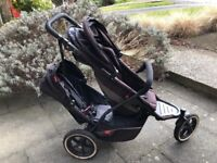 Phil & teds double explorer buggy with rain cover, car seat adapter