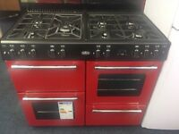 BELLING BRAND NEW 100CM DUAL FUEL RANGE STYLE COOKER IN RED