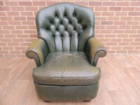 Vintage Chesterfield Leather High Back Armchair (UK Delivery possible)