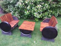 Oak barrel garden furniture ..decking..bar...pub..