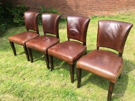 Brown Leather Dining Chairs.