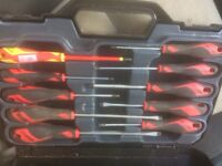 6 x Teng spanners, screwdriver set and measuring tape