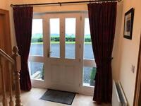 Luxury heavy lined curtains, tie back and pole