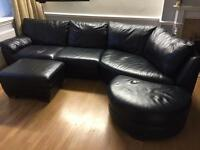 Leather corner unit suite