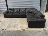 FREE DELIVERY REAL BROWN LEATHER L-SHAPED CORNER SOFA