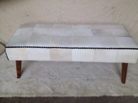 NEW GENUINE TEAK WOOD, COW HIDE TWO PERSON BENCH H470mm, W1200mm, D540mm NEW