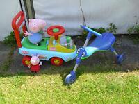 PEPPA PIG SIT n RIDE WALKER CAR, GEORGE AND PEPPA. & SCUTTLE BUG TRIKE