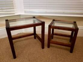 Wood and glass side tables