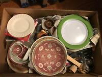 Large box of Kitchen Dinnerware inc Denby