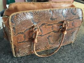 BIG BAG REAL PITON AMAZING VINTAGE OF MY GRANMOTHER ONLY £80!!! cm45xcm28xcm20