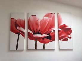 Set of 3 large red floral canvases