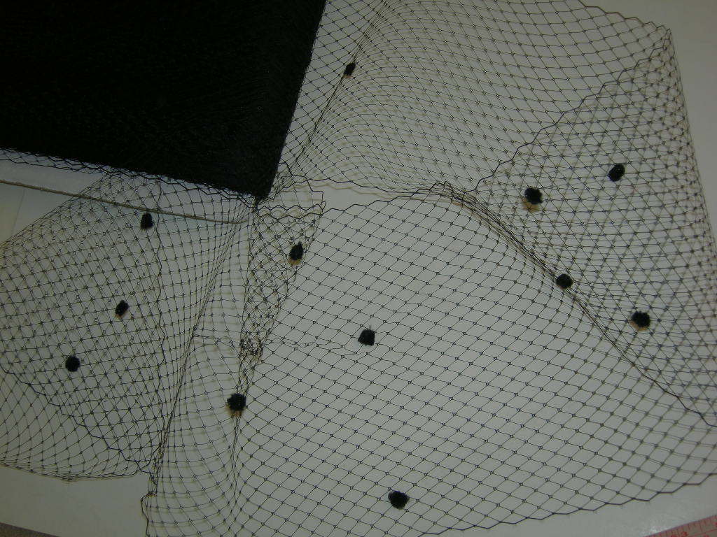 Black bird cage veil netting chenille dot birdcage By the ya