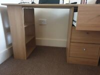 Desk with build in drawer and shelves
