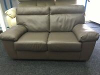 ScS New/Ex Display Light Brown Leather 2 Seater Sofa