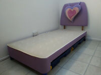 Purple/pink girl's bed (frame, headboard, storage)