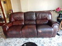 Brown 3 Seater reclining Leather Sofa