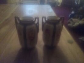 Nortika japenese vases hand painted about 8 ins tall lovely pair of vases