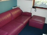 3 seater leather sofa and puff