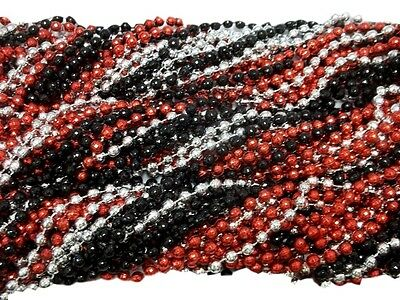 36 Pirate Colors Mardi Gras Beads Necklaces Red Silver Black 3 Doz Global Disco](Wholesale Mardi Gras Beads)
