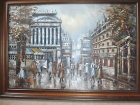 Oil Painting of an European City Street Scene