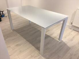 NEXT White Glass Top Metal Frame Six Seater Dining Table