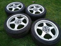 """Rota Slipstream alloy wheels 4x100 16"""" silver ET40 7J wide new Condition 195/45/16 tyres JDM Stance"""
