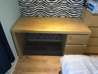 Ikea pine desk and leather chair