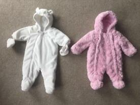 2 x Baby Girl Snow Suits